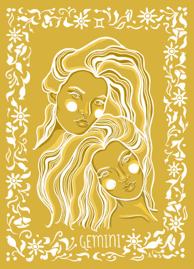 gemini twins yellow illustration by Aimee Schreiber