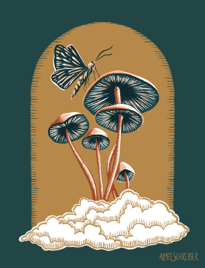 Mushrooms and Moth on a Cloud Illustration by Aimee Schreiber