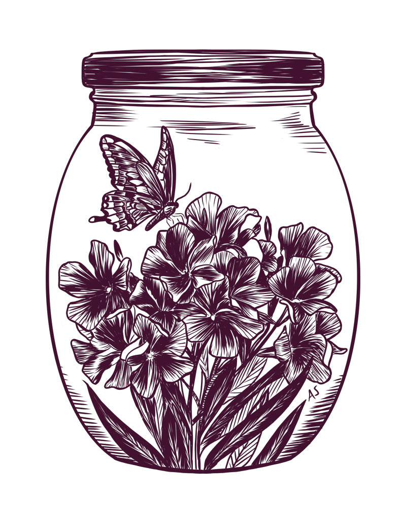 butterfly flowers jar illustration by Aimee Schreiber