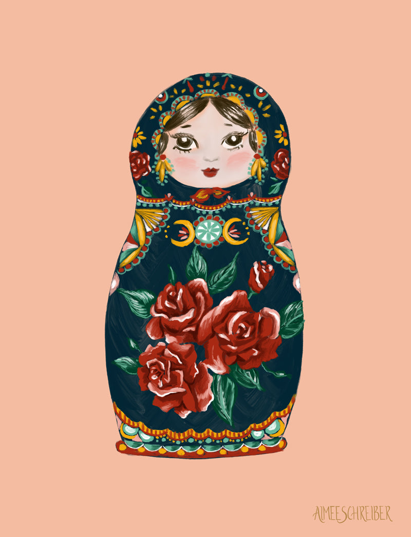 Russian Nesting Doll Matryoshka Illustration by Aimee Schreiber