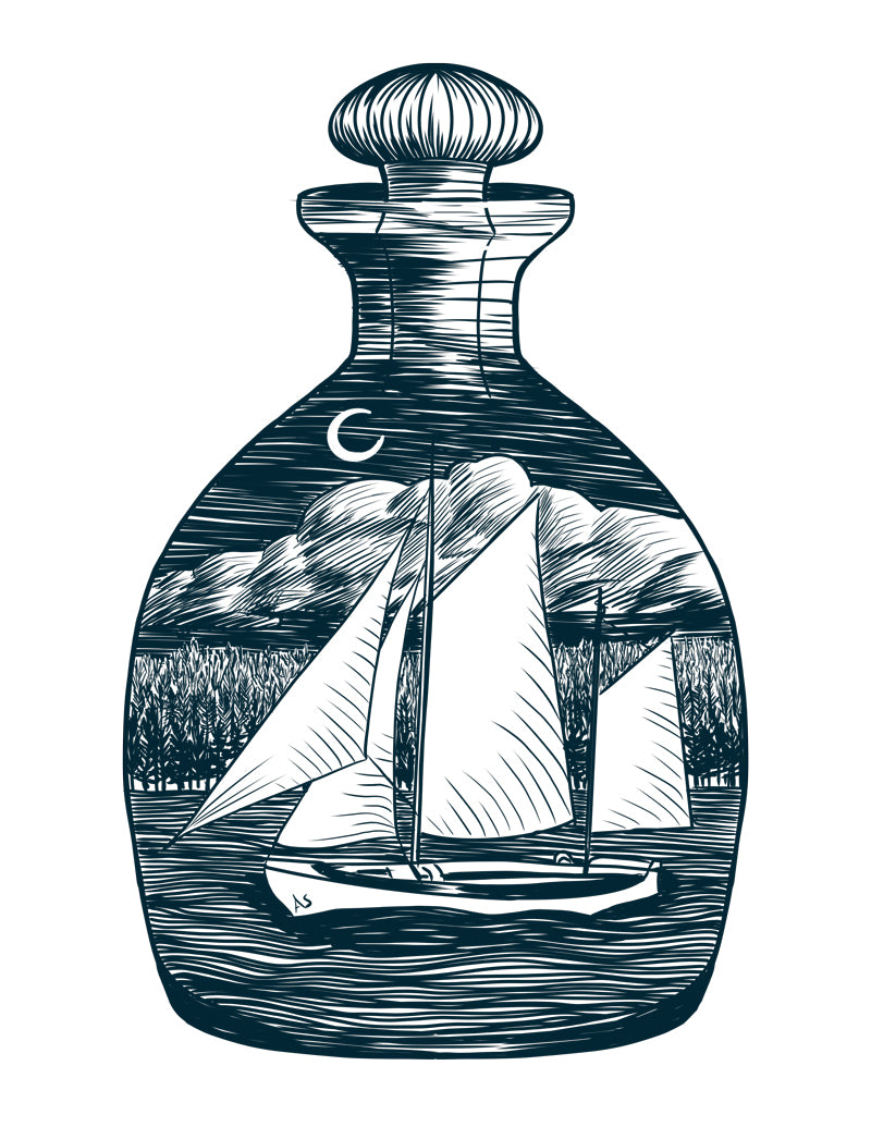 sail boat in bottle illustration by Aimee Schreiber