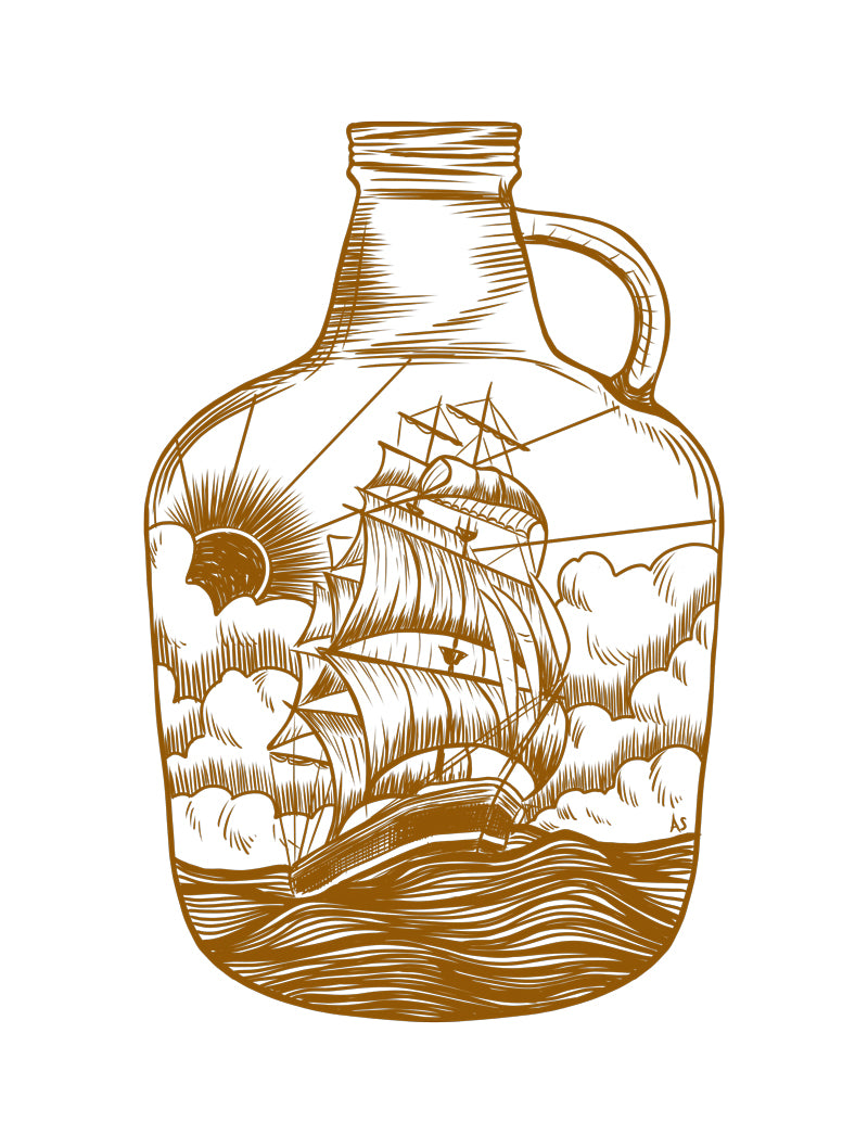 Ship in bottle illustration by Aimee Schreiber