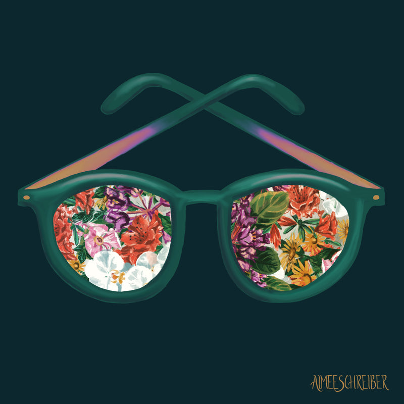 Colorful Floral Sunglasses Illustration by Aimee Schreiber
