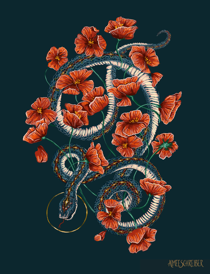 Teal Snake with Red Poppies Illustration by Aimee Schreiber