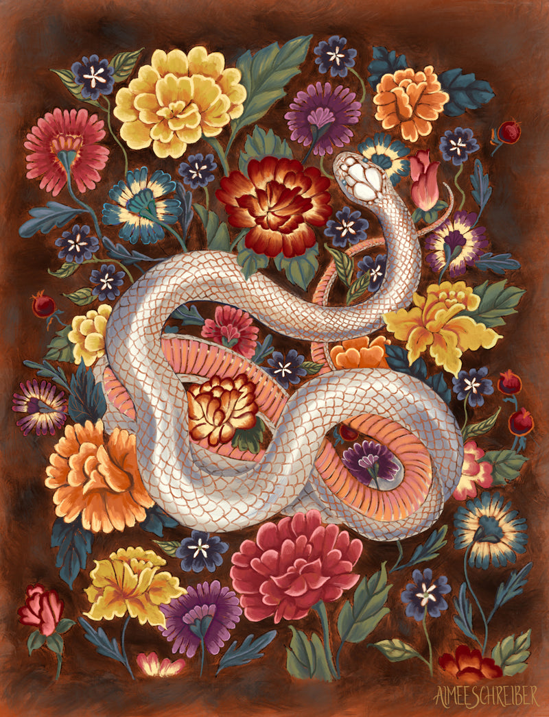 White Snake with Colorful Flowers Illustration by Aimee Schreiber