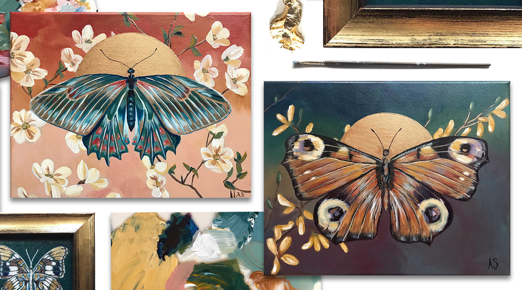 Butterfly Paintings Gallery Wall by Aimee Schreiber
