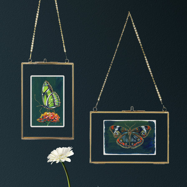 Pressed Glass Hanging Gold Frames