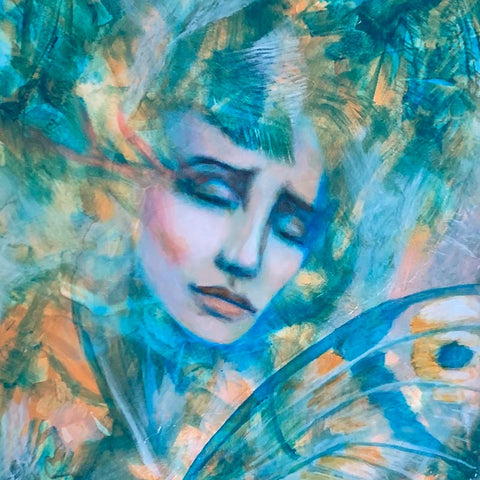 Emotional art inspiration 'Our Skin is Melted Moons' original painting by Aimee Schreiber