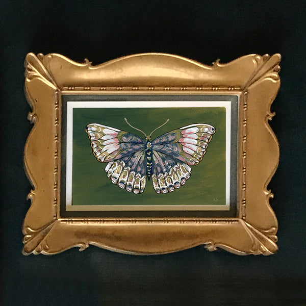 Green Butterfly Gold Frame