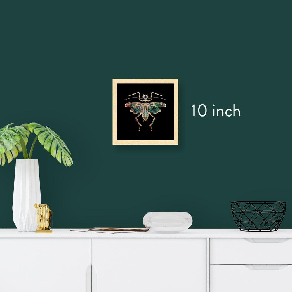 10 inch square framed gold foil insect art print, natural maple wood