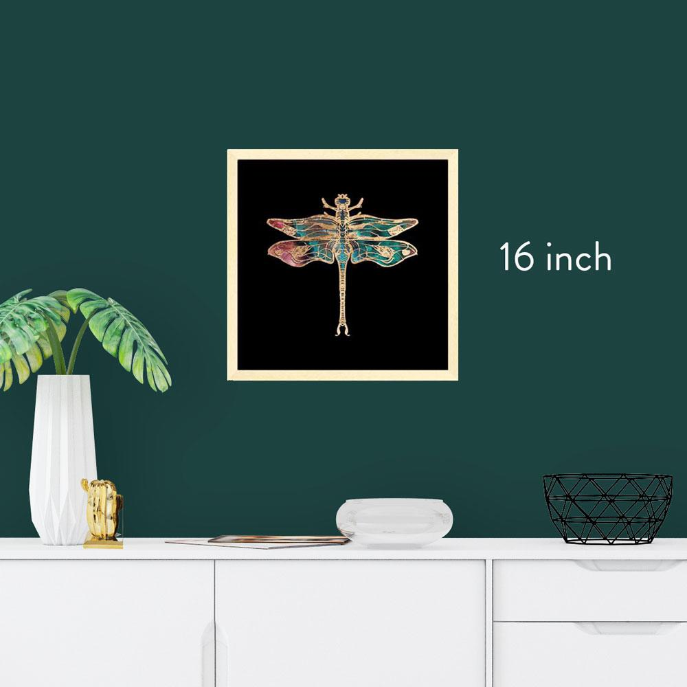 16 inch square framed gold foil insect art print, natural maple wood