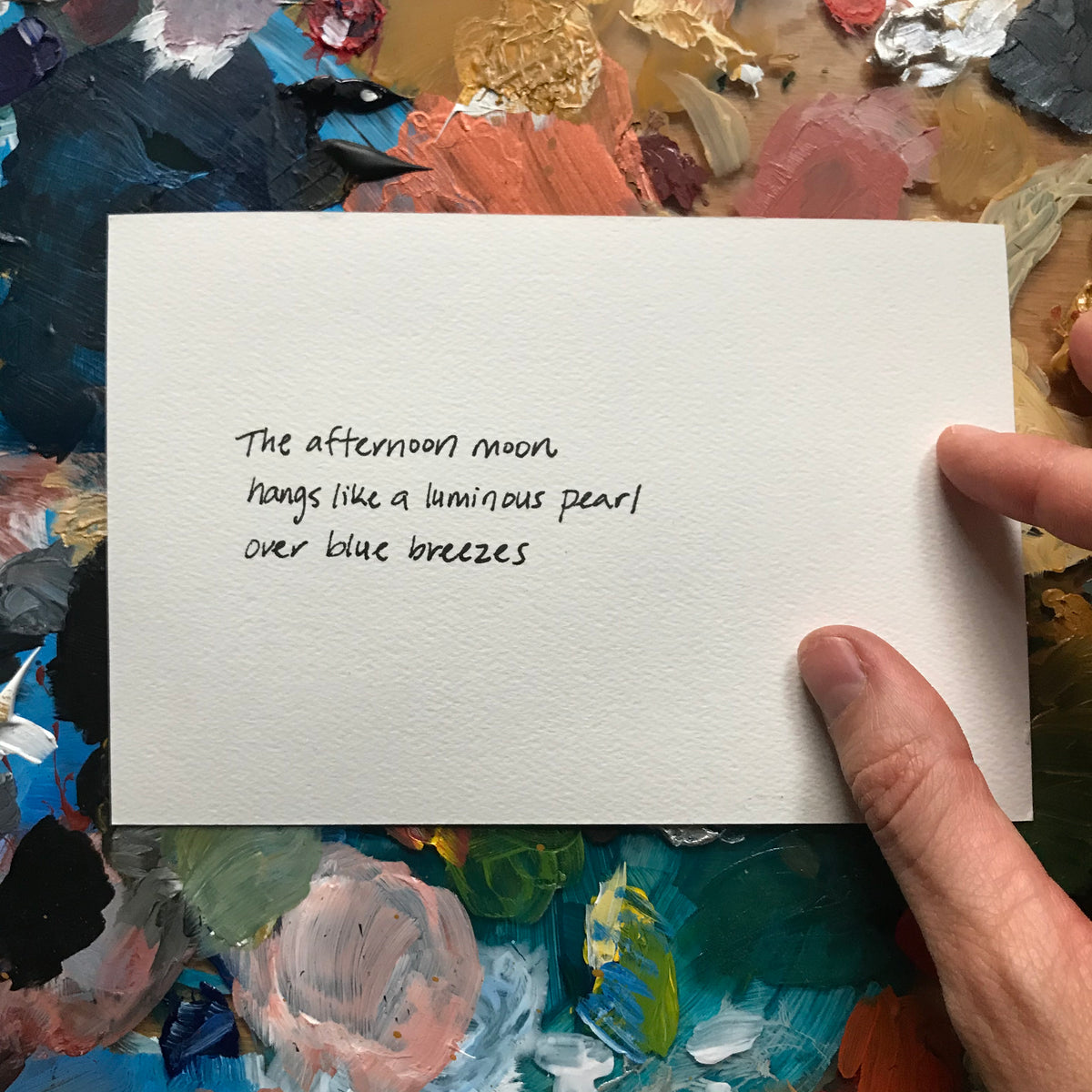 """Afternoon Moon"" Painted Poetry Postcard 4x6"