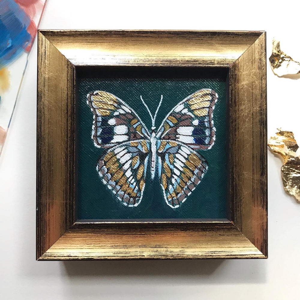 """Golden Butterfly"" Framed Acrylic Painting 3x3"