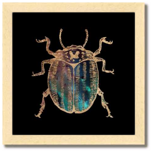 10 inch square Gold Foil Galactic potato Beetle Fine Art Print by Aimee Schreiber, galaxy gold leaf ink with natural maple wood frame