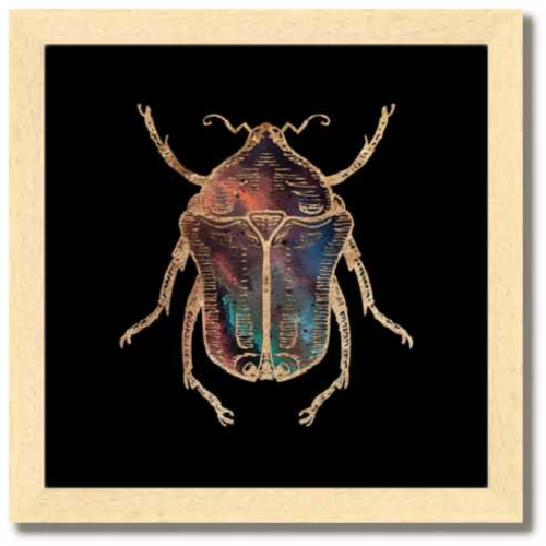 10 inch square Gold Foil Galactic June Beetle Fine Art Print by Aimee Schreiber, galaxy gold leaf ink with natural maple wood frame