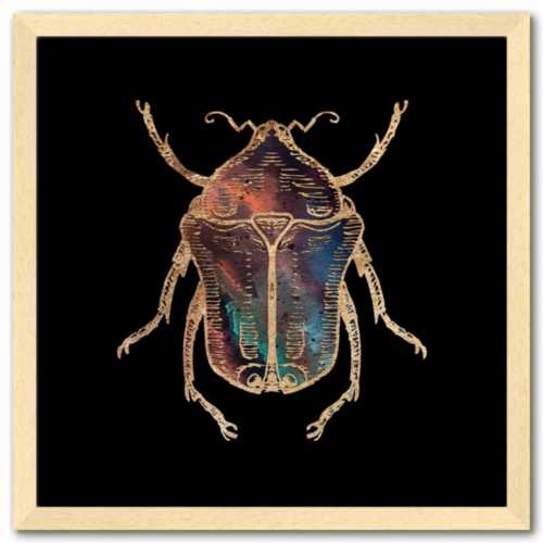 16 inch square Gold Foil Galactic June Beetle Fine Art Print by Aimee Schreiber, galaxy gold leaf ink with natural maple wood frame