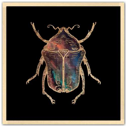 24 inch square Gold Foil Galactic June Beetle Fine Art Print by Aimee Schreiber, galaxy gold leaf ink with natural maple wood frame