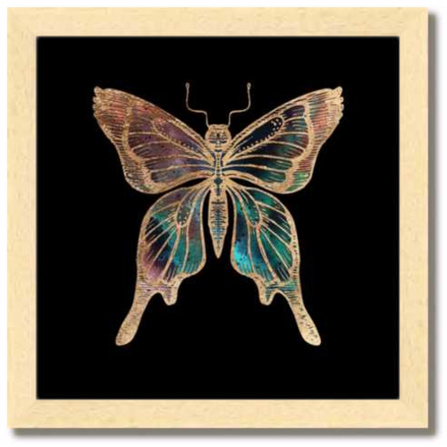 10 inch square Gold Foil Galactic Butterfly Fine Art Print by Aimee Schreiber, galaxy gold leaf ink with natural maple wood frame