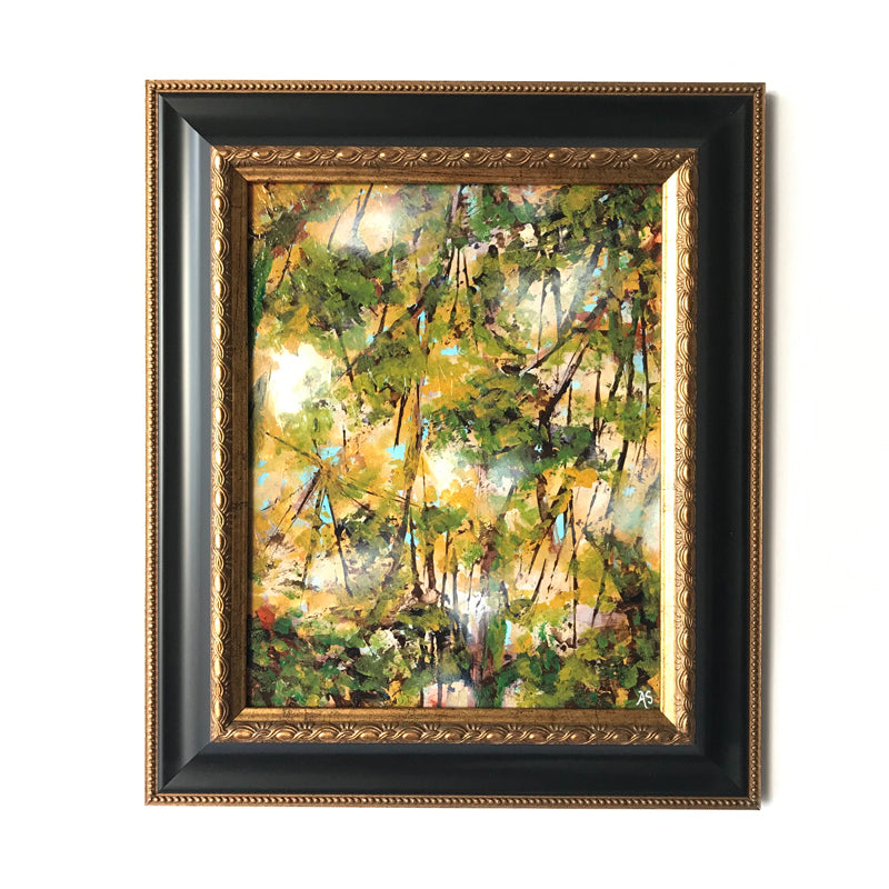 framed fall forest nature painting on white wall by Aimee Schreiber