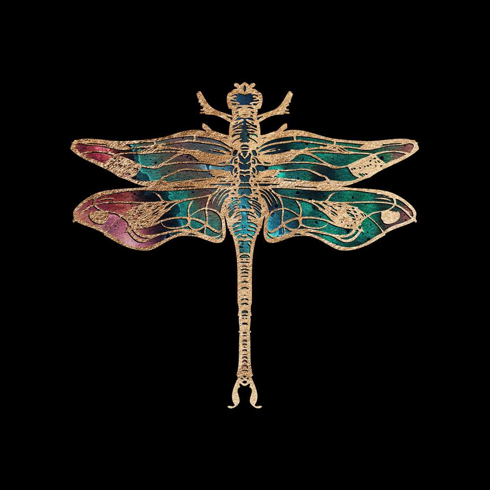 Gold Foil Galactic Dragonfly Fine art print by Aimee Schreiber