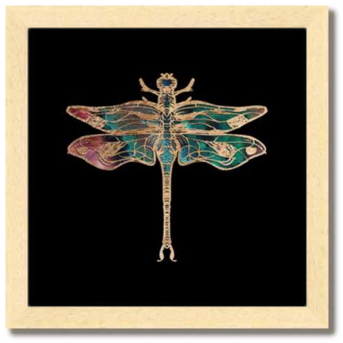 10 inch square Gold Foil Galactic Dragonfly Fine art print by Aimee Schreiber with natural maple wood frame