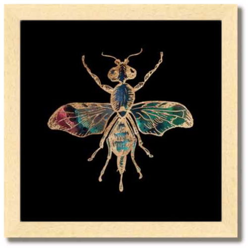 10 inch square Gold Foil Galactic Fruit Fly Fine Art Print by Aimee Schreiber natural maple wood frame