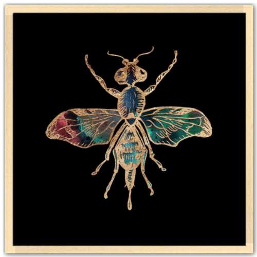 24 inch square Gold Foil Galactic Fruit Fly Fine Art Print by Aimee Schreiber natural maple wood frame