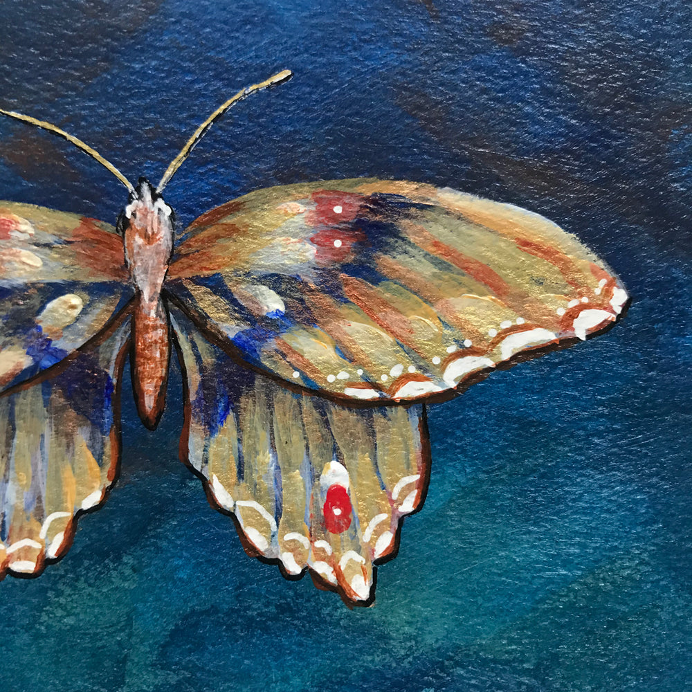 Gold teal butterfly poetry postcard painting detail by Aimee Schreiber