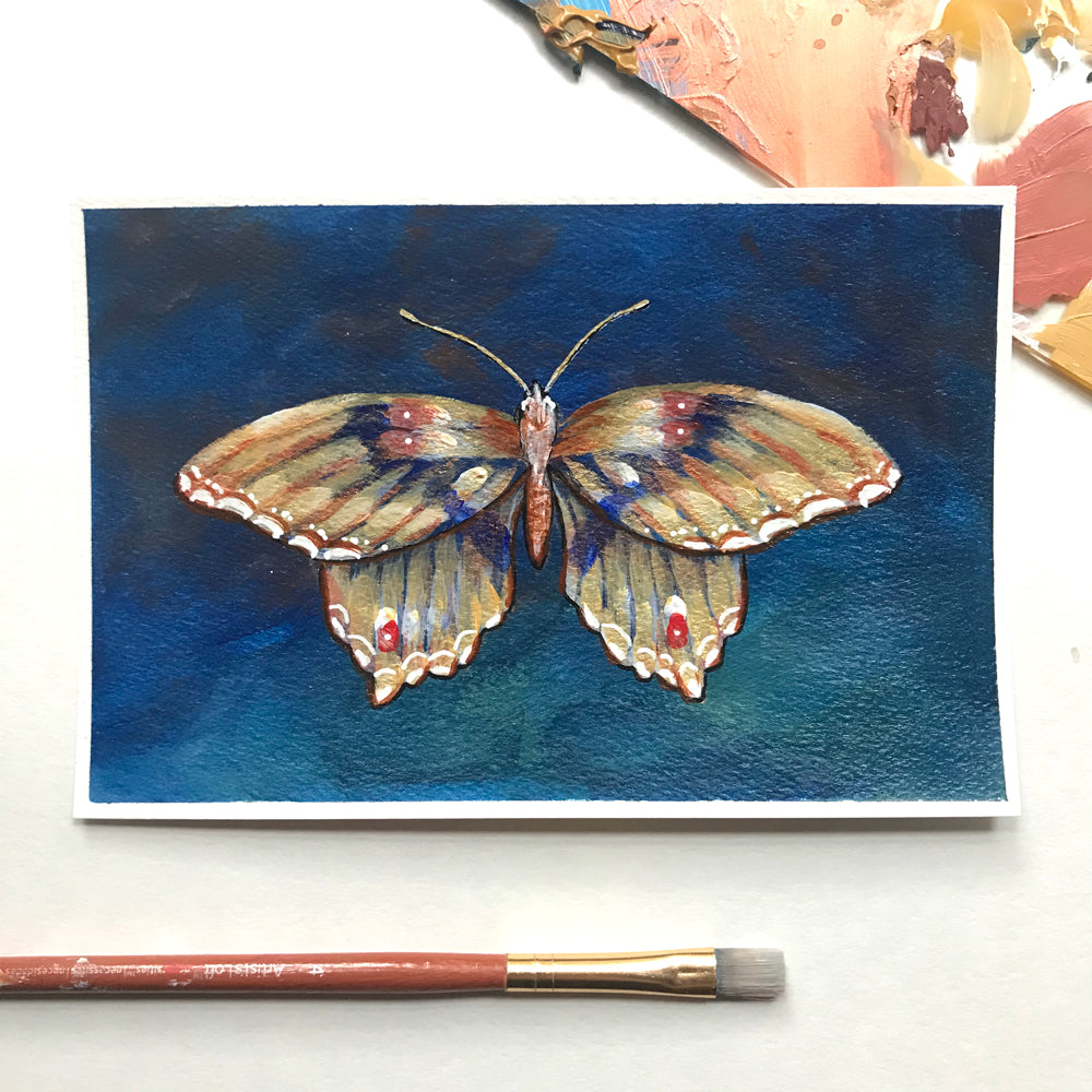 Gold teal butterfly poetry postcard painting by Aimee Schreiber