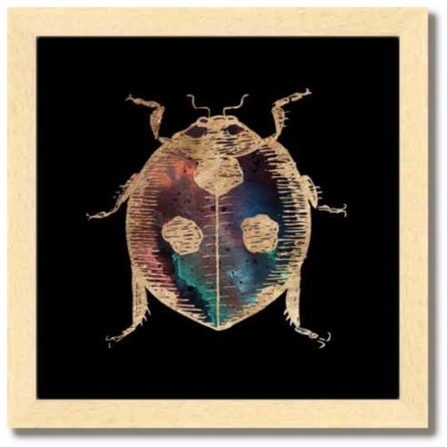 10 inch square gold Foil Galactic Ladybug Art Print by Aimee Schreiber in natural maple wood frame