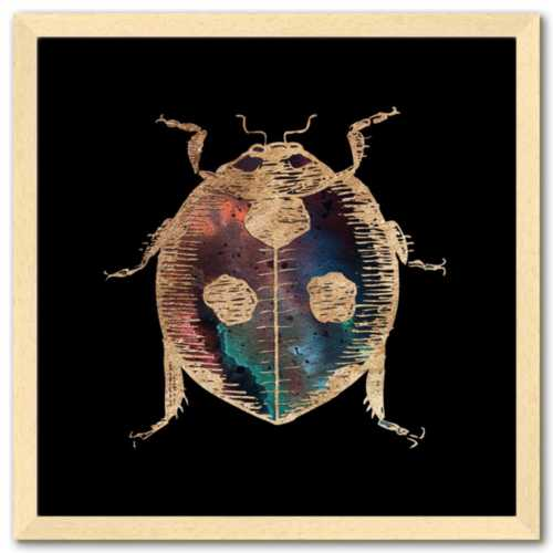 16 inch square gold Foil Galactic Ladybug Art Print by Aimee Schreiber in natural maple wood frame