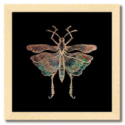10 inch square gold Foil Galactic Grasshopper Art Print by Aimee Schreiber framed natural maple wood