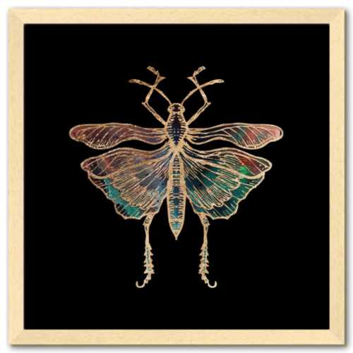 16 inch square gold Foil Galactic Grasshopper Art Print by Aimee Schreiber framed natural maple wood