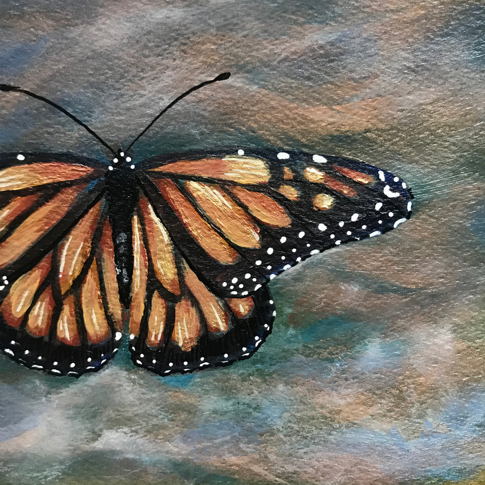 Monarch Butterfly poetry Postcard original painting detail by Aimee Schreiber