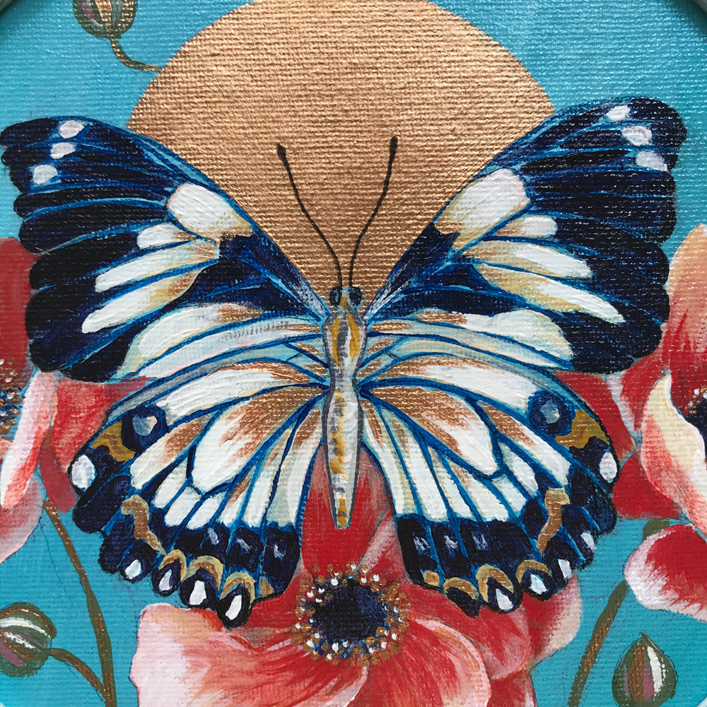 """Butterfly Summer"" Framed Acrylic Painting 8x8"