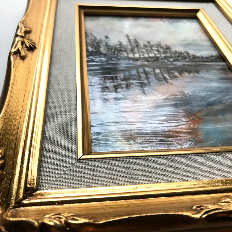 Reflection I Lake Landscape painting in gold frame texture detail by Aimee Schreiber