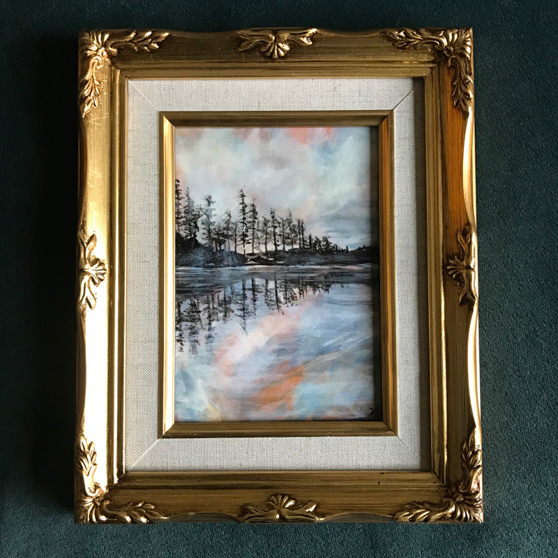 Reflection I Lake Landscape painting in gold frame by Aimee Schreiber