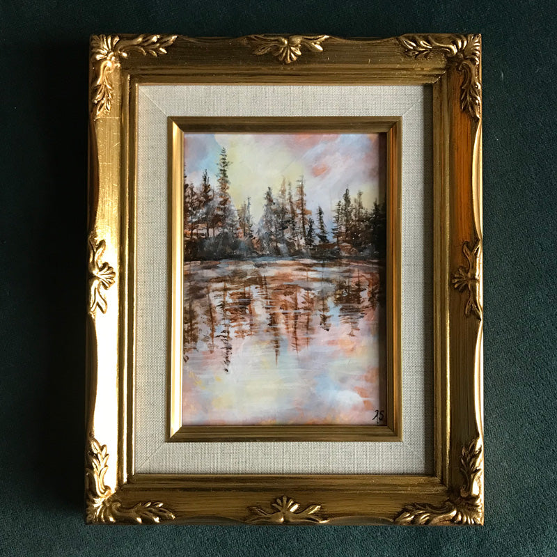 Reflections II Lake Landscape painting in gold frame by Aimee Schreiber