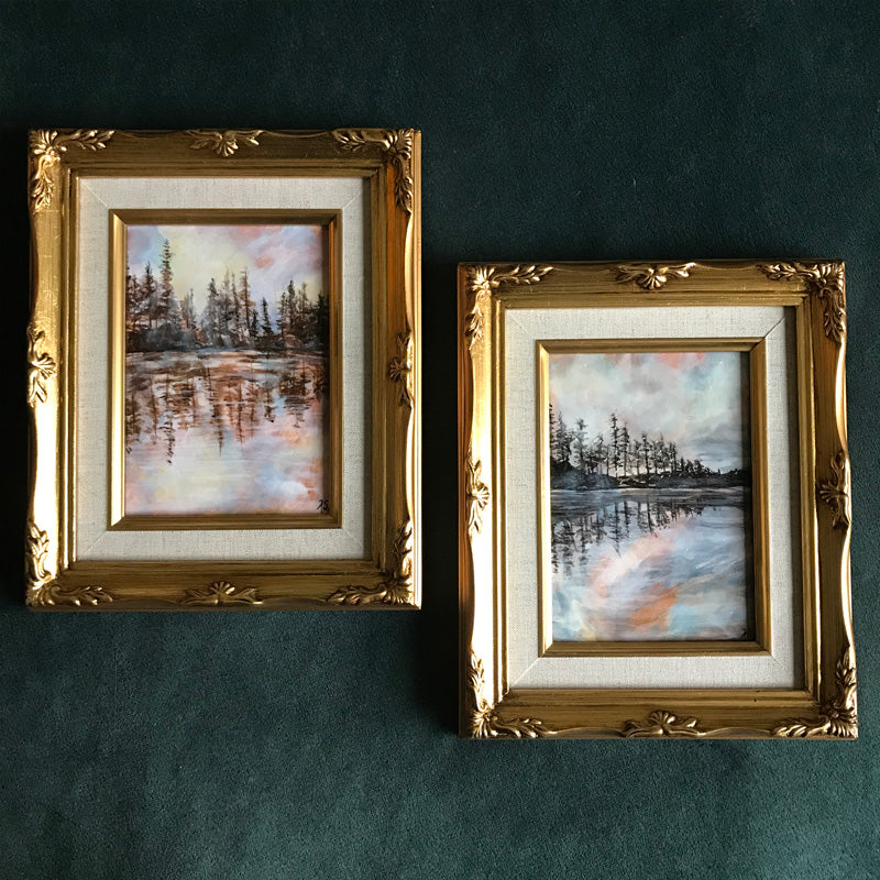 Pair of Reflection Lake Landscape paintings in gold frame by Aimee Schreiber