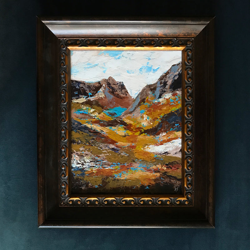 """Topaz Mountains"" Framed Acrylic Painting 11x14"