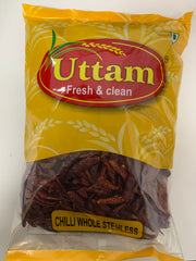 Chilli Whole Stemless 500gm Uttam