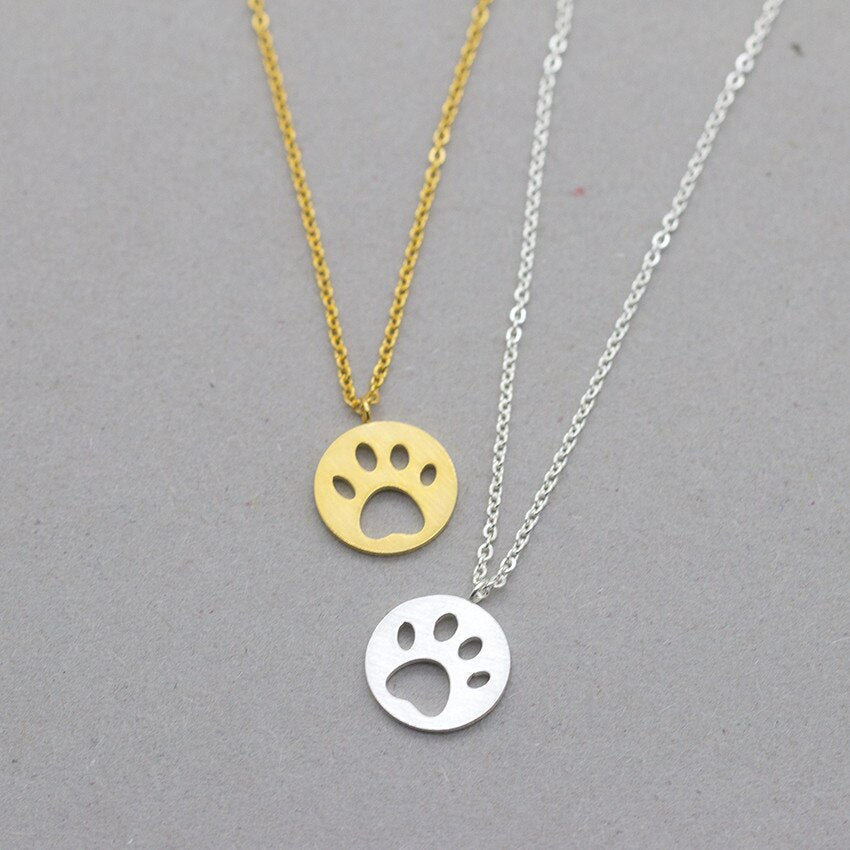 Paw Necklace Pendant, Stainless Steel Rose Gold, Gold, and Silver