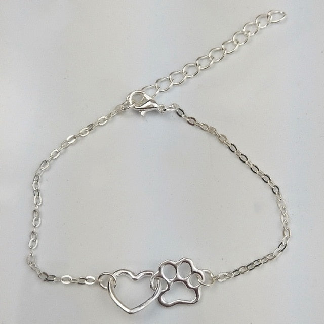 Paw Heart Bracelet, Gold or Silver