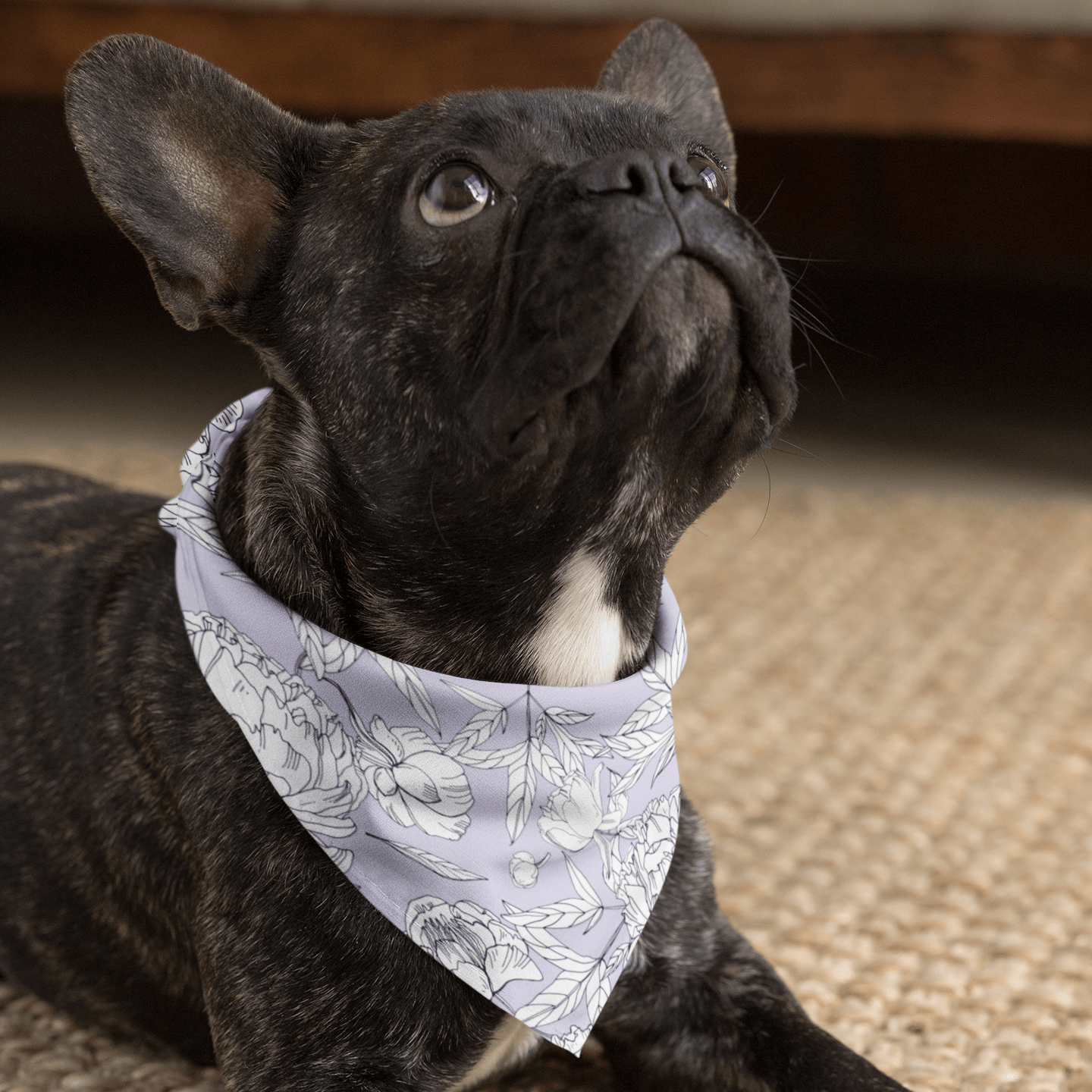 Pastel Purple Peony Dog Bandana - With or Without Collar
