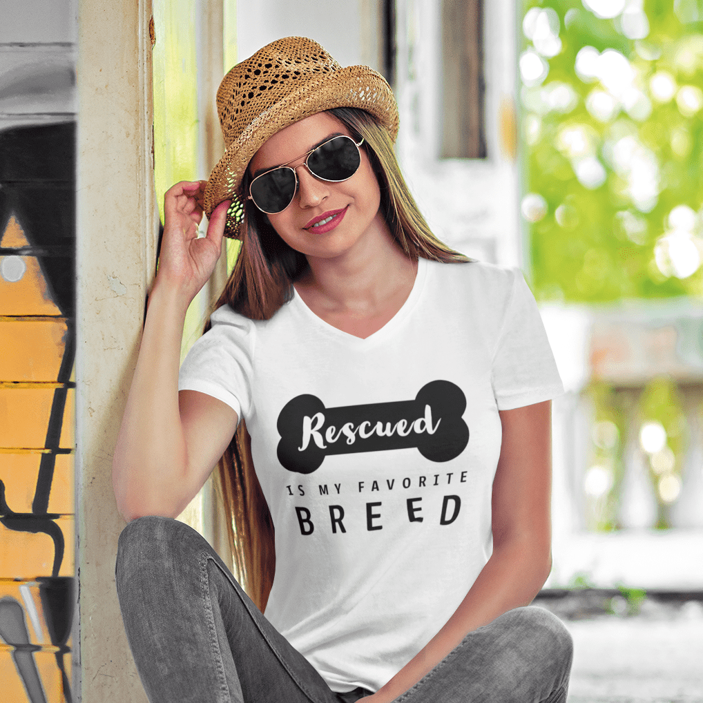 'Rescued Is My Favorite Breed' Short Sleeves Shirt - barkandluv