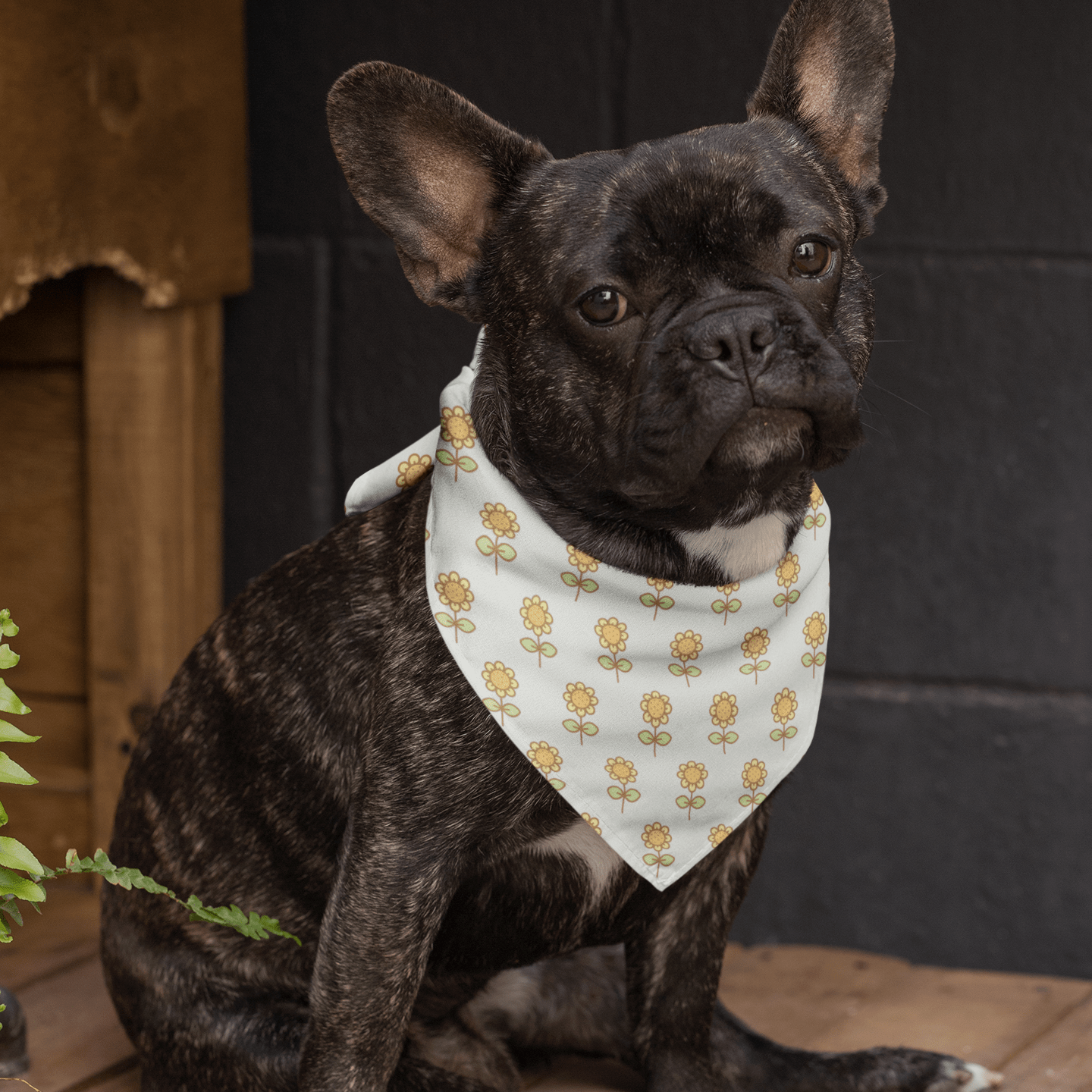 Sunflower Dog Bandana - With or Without Collar - barkandluv