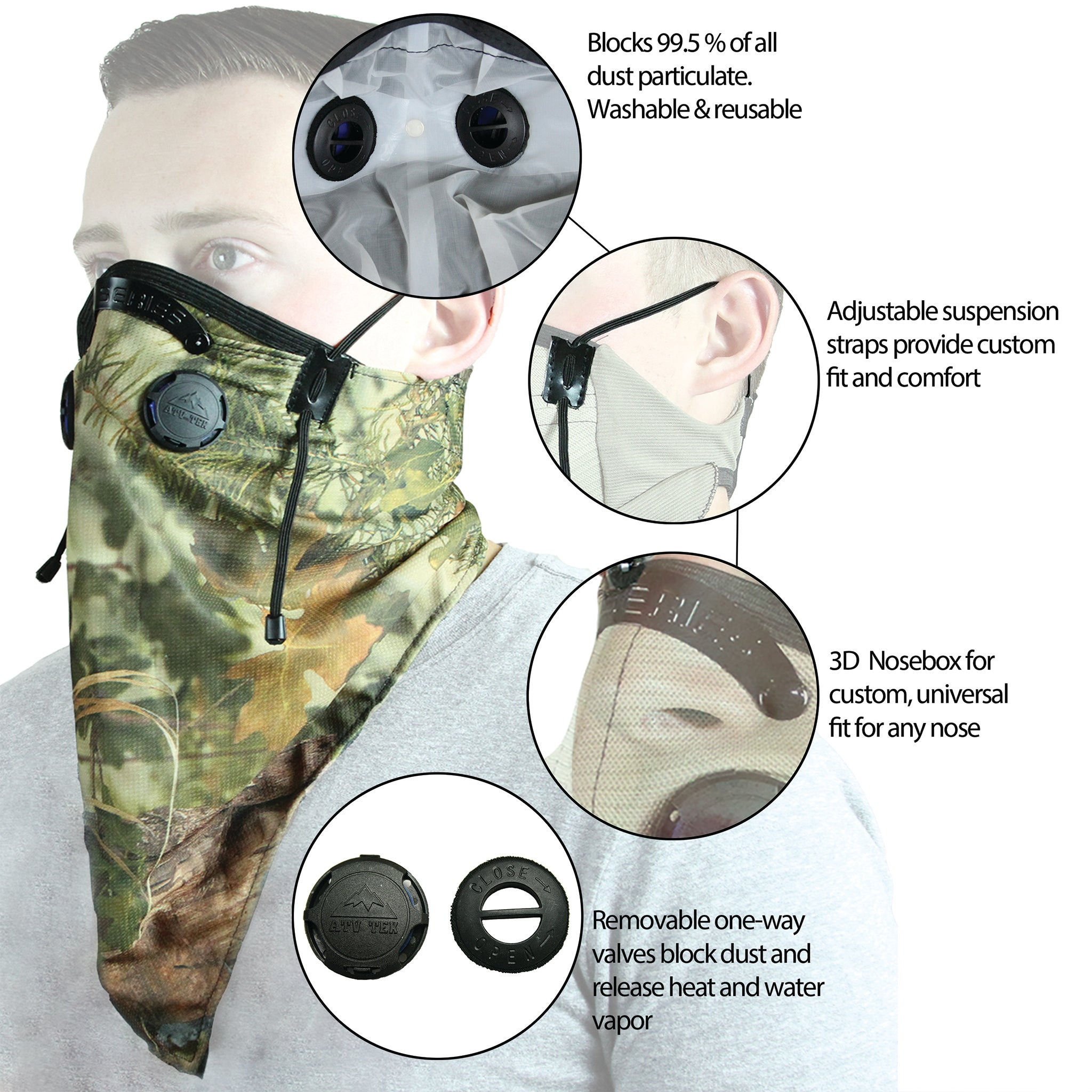 Bandana Style Dust Masks w/ Suspension Straps & 3D Nose Box
