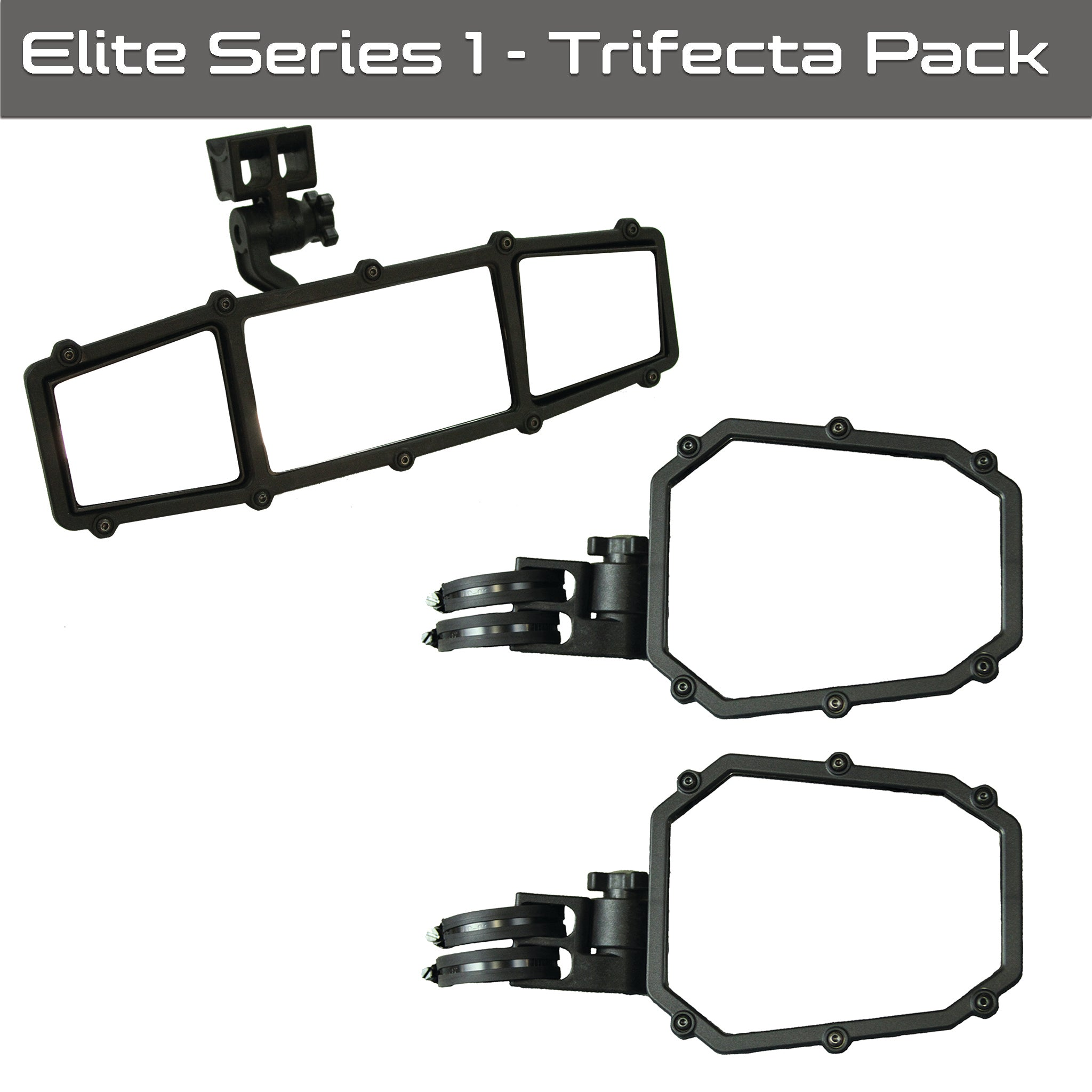 Elite Series 1 UTV Trifecta Pack - (2) Elite Sideview mirrors, (1) Elite rearview mirror