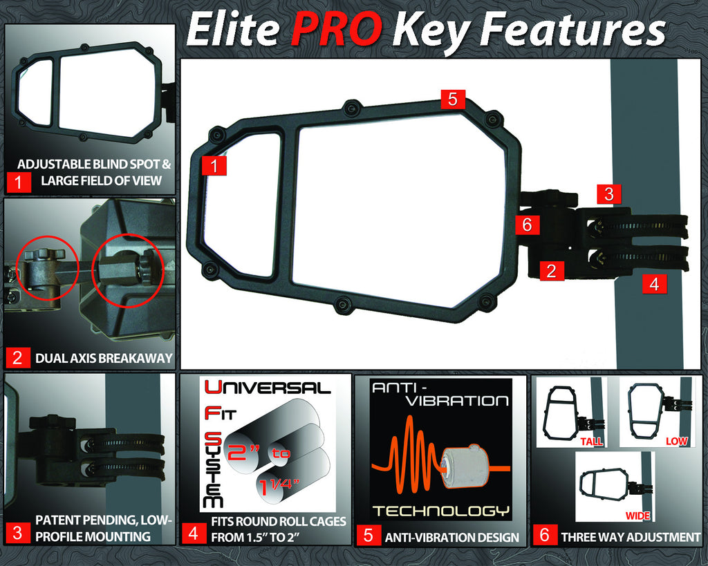 Elite Series UTV Side Mirror w/ blindspot™ & dual axis breakaway