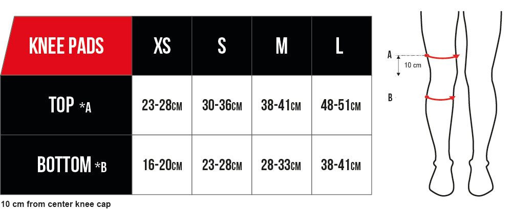 CORE Knee Pad Size Guide
